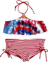 Big Chill Red Palm Tree & Stripe Bikini - Girls