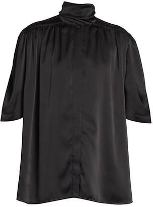 Balenciaga Short Sleeve Silk Scarf Blouse