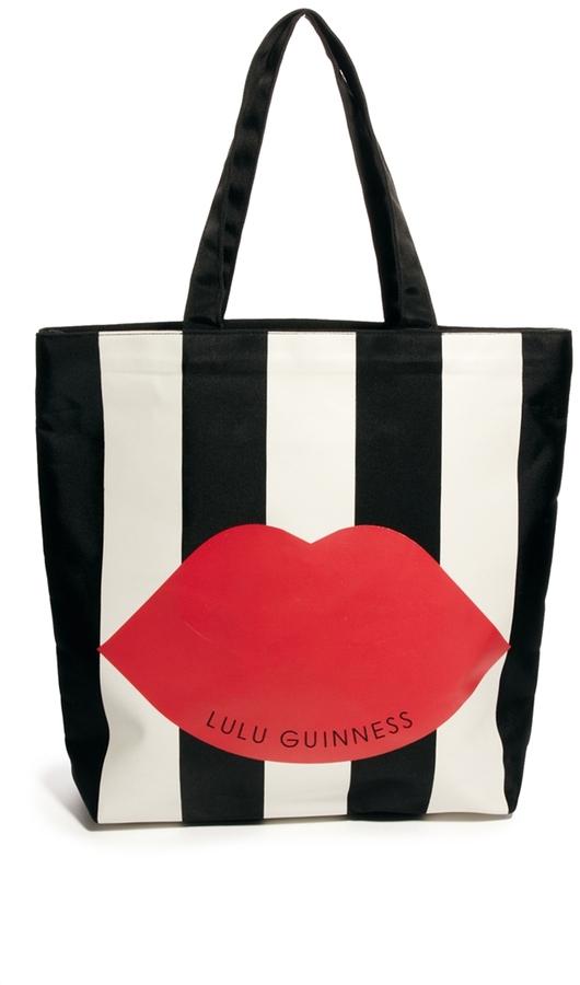 Lulu Guinness Lily Stripe Lip Shopper Bag