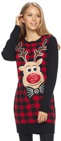It's Our Time Juniors' Reindeer Plaid Christmas Tunic