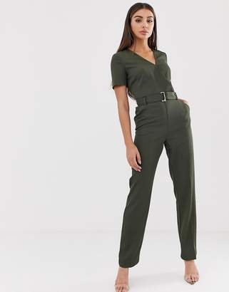 Morgan wrap front belted jumpsuit in khaki-Green