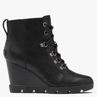 Sorel Joan Uptown Lace Rouge Black Leather Wedge Boots