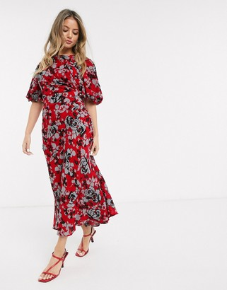 Asos Design DESIGN ruched maxi dress with puff sleeve in floral print