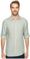 Perry Ellis Solid Rolled-Sleeve Linen Shirt
