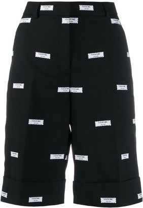 Thom Browne All-Over Logo-Patch Shorts