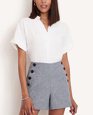 Ann Taylor Tall Linen Blend Split Neck Shirt