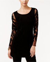 INC International Concepts Velvet Flocked Tunic Sweater, Only at Macy's