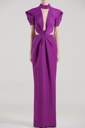 Saiid Kobeisy Short Sleeve Cutout Column Gown