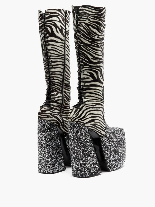 Thumbnail for your product : Harris Reed X Roker - The H Zebra-stripe Calf-hair Platform Boots - Multi