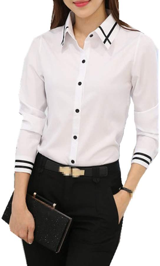 17c51a5b0b White Shirt Long Sleeve Women No Collar - ShopStyle Canada