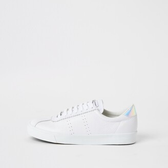 River Island Womens Superga White leather lace-up trainers