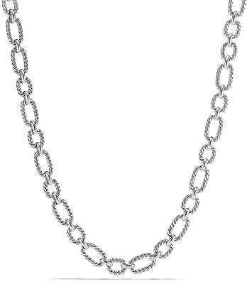 David Yurman Chain Cushion Link Necklace with Blue Sapphire in Sterling Silver