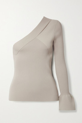 Theory One-sleeve Paneled Ribbed-knit Top - Taupe