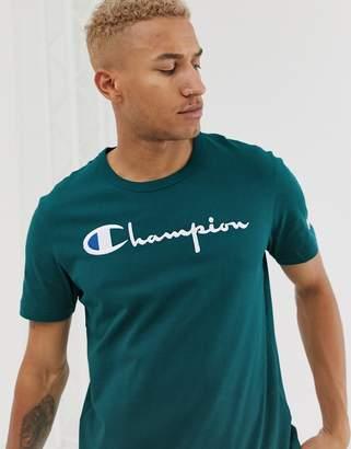 Champion large script logo t-shirt in teal-Blue