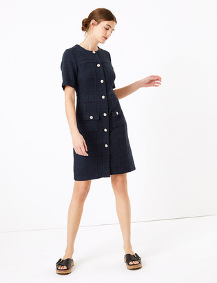 Marks and Spencer Tweed Checked Knee Length Dress