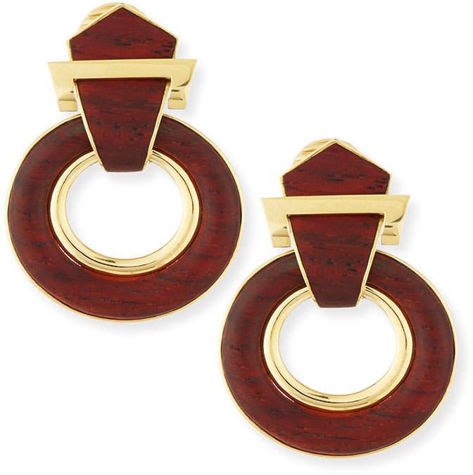 David Webb 18k Gold Bloodwood Buckle Earrings