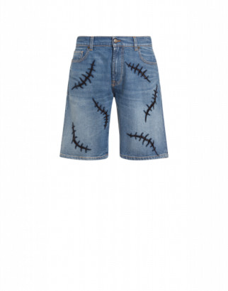 Moschino Scars Denim Shorts Man Blue Size 46 It - (30 Us)