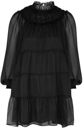 Alice + Olivia Kellyann black tiered silk-chiffon mini dress