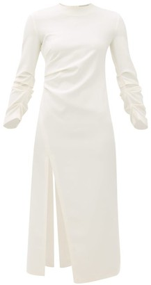 A.W.A.K.E. Mode Gathered Side-slit Crepe Dress - Ivory
