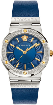 Versace Greca Logo Watch with Leather Strap, Two-Tone/Blue