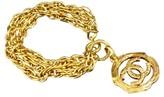 Chanel Gold-Tone Triple Chain CC Logo Bracelet