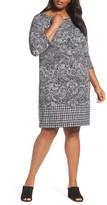 MICHAEL Michael Kors Plus Size Women's Paisley Houndstooth Print Shift Dress