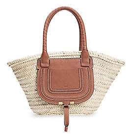 Chloé Women's Marcie Leather-Trimmed Woven Tote