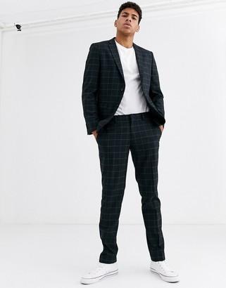Esprit slim fit suit pant in navy windowpane check
