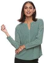Dana Buchman Women's Printed Splitneck Top