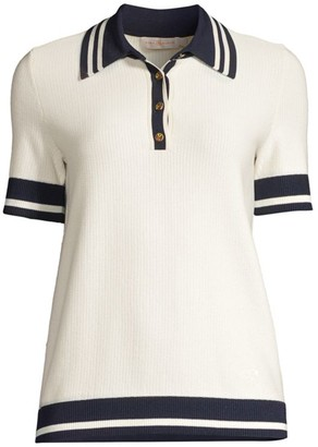 Tory Burch Mesh Polo T-Shirt