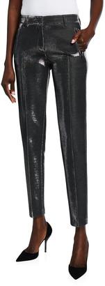 Akris Punto Fabia Metallic Pinstripe Ankle Pants