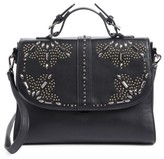 Chelsea28 Blair Embellished Faux Leather Top Handle Satchel - Black