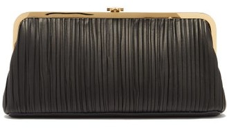 Mark Cross Susannah Pleated Nappa-leather Clutch - Black