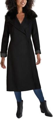 Cole Haan Slick Wrap Coat with Faux Fur Trim