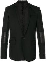 Les Hommes panelled blazer - men - Lamb Skin/Polyester/Spandex/Elastane/Virgin Wool - 48