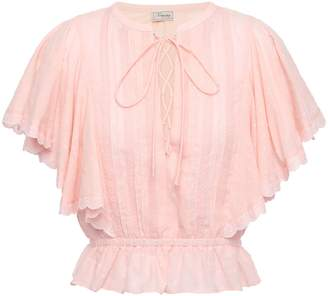 Temperley London Beaux Lace-trimmed Pintucked Cotton-plumetis Blouse