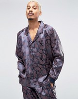 Asos Loungewear Satin Pajama Top In Paisley Print
