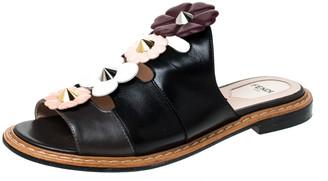 Fendi Black Leather Floral Applique Mules Size 36.5