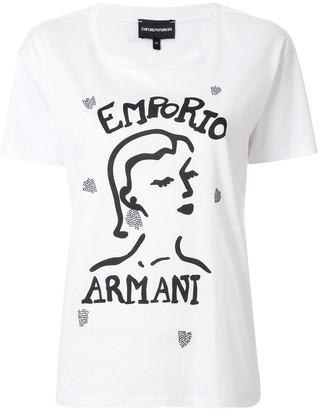 Emporio Armani face print boxy T-shirt