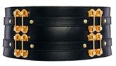 Asos Wide Belt With Metal Link Detailing - Black