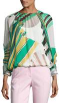 Emilio Pucci Printed Long-Sleeve Silk Blouse, White/Green