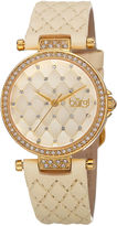 Burgi brgi Womens Quilted-Look White Leather Strap Watch