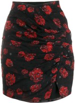 IRO draped rose print mini skirt