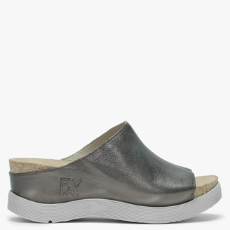 Fly London Wigg Bronze Leather Wedge Mules