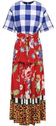Stella Jean Paneled Printed Taffeta And Poplin Maxi Dress