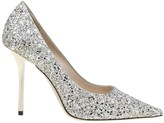 Jimmy Choo Decollete love 100 In Glittery Fabric Sand Color
