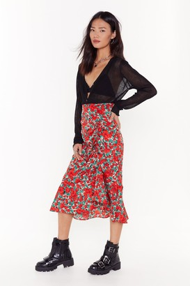 Nasty Gal Womens Our Season Floral Midi Skirt - red - 6