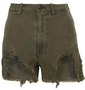 R 13 Distressed Cotton-canvas Shorts
