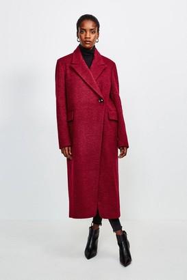 Karen Millen Texture Asymmetric Button Wrap Coat