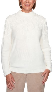 Alfred Dunner Petite Dover Cliffs Pointelle-Stitch Yoke Solid Sweater